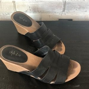 Style & Co. Juliaa Faux Leather Slides Wedge